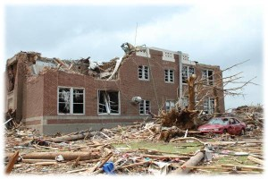 This school was destroyed by a tornado.