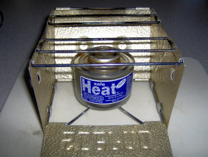 Canned Heat in Sterno Stove - Copyright Your Family Ark LLC