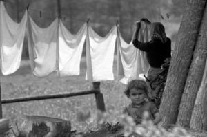 Clothes line with little girl